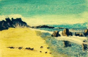 """Boogy Board Beach"".  A name give by my grandsons.  I don't know the real name.  At Sea Ranch, Northern Calif.  9x12 pastel on water color paper."
